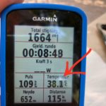 Garmin displaying 38 degrees temperature
